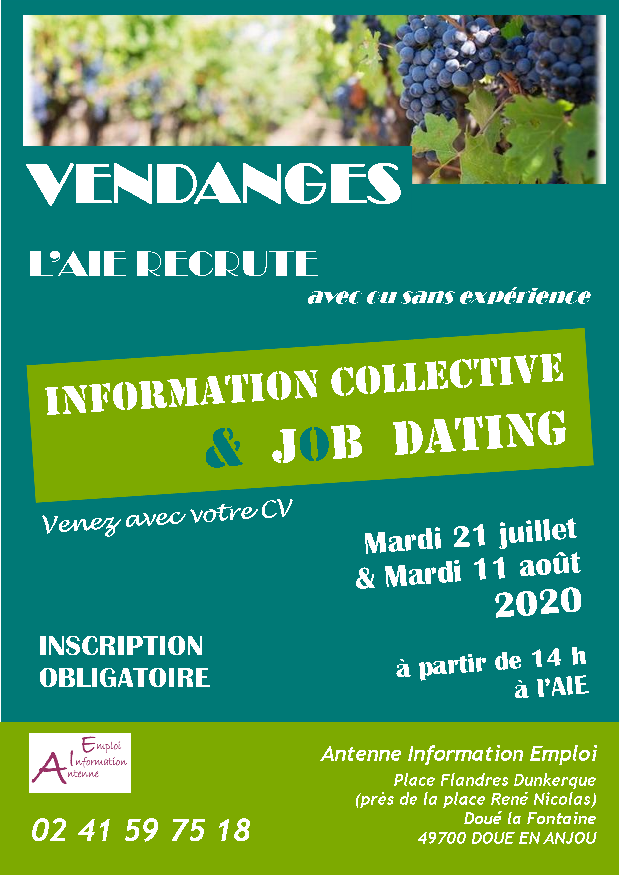 Affiche vendanges info coll et speed dating 2021