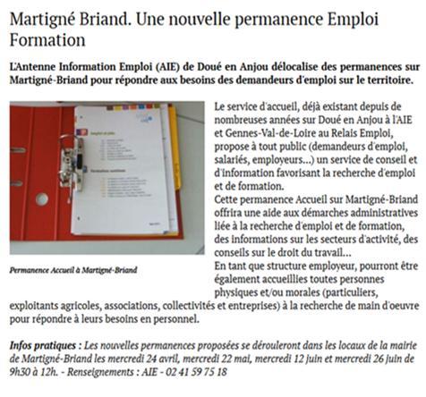 Article accueil martigne briand saumur kiosque