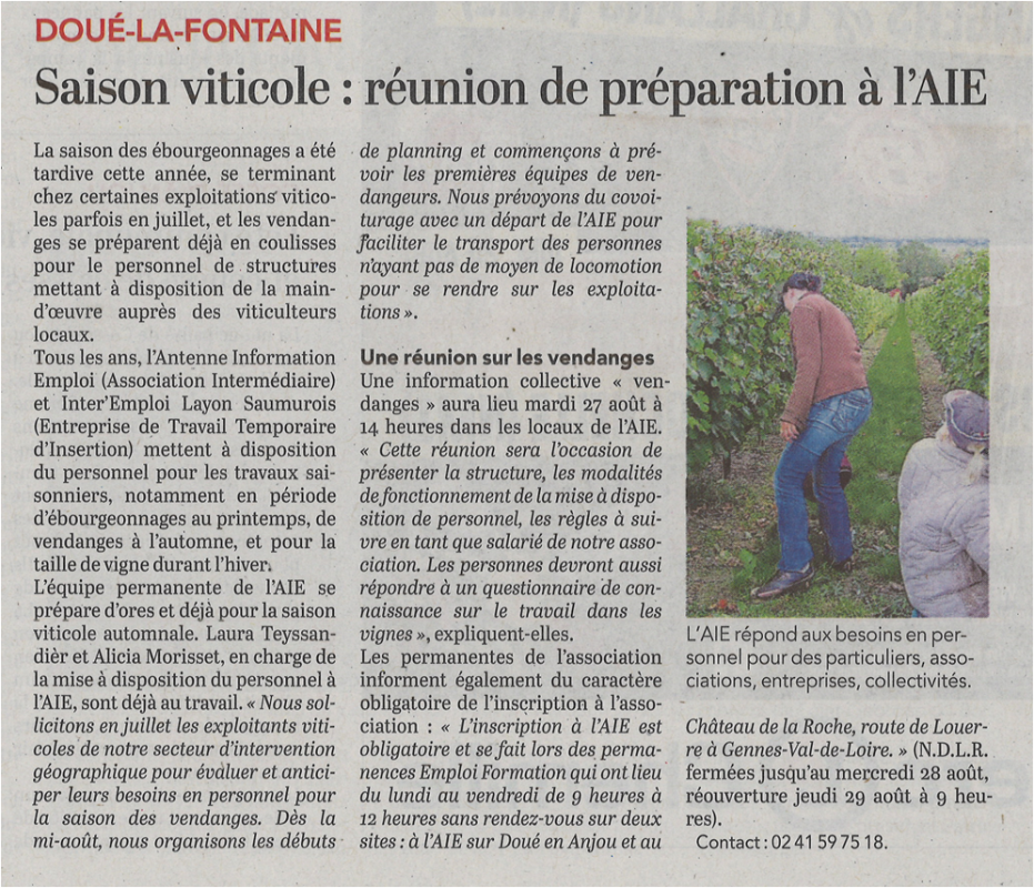 Preparation des vendanges 22 aout 2019